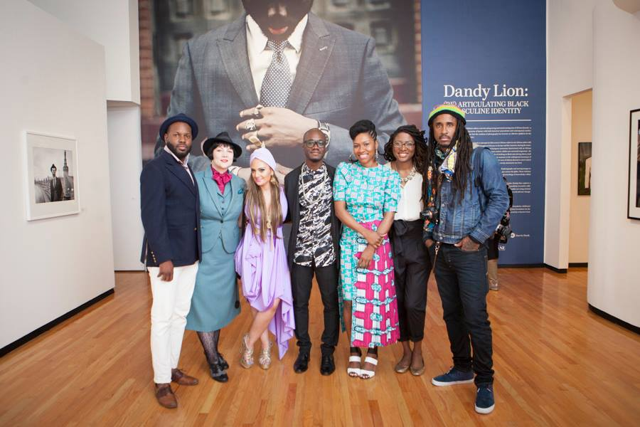 Dandy Lion curator Shantrelle P. Lewis and exhibiting photographers L. Kasimu Harris, Rose Callahan, Sara Shamsavari, Arteh Odjidja, Jamala Johns and Radcliffe Roye at MoCP in Chicago, April 2015.